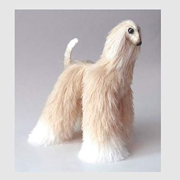 Vanilla & White Afghan Hound Collectible Poseable Miniature Cute Plush Art Doll Needle Felted Dog