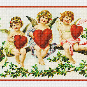 Victorian 3 Angels Cupids on a Tree Branch with Hearts Valentine from Antique Card Counted Cross Stitch or Counted Needlepoint Pattern