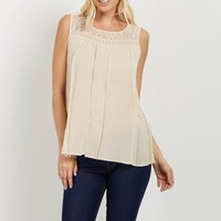 Cream-Crochet-Accent-Sleeveless-Top