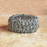 Beaded Cuff Bracelet, Classic Rebel Chain Link Beaded Bracelet with Iridescent Blue Tone Glass Crystal Rondelles, Wide Cuff Bracelet