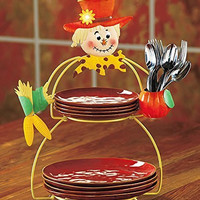 Metal Red Yellow Pumpkin Scarecrow Lighted Serving Plate Stand