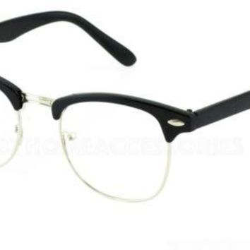 Half Frame Browline Classic Retro Style Clear Lens Glasses Half Brow Black NEW