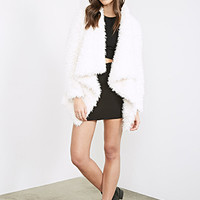 FOREVER 21 Draped Faux Shearling Coat Cream