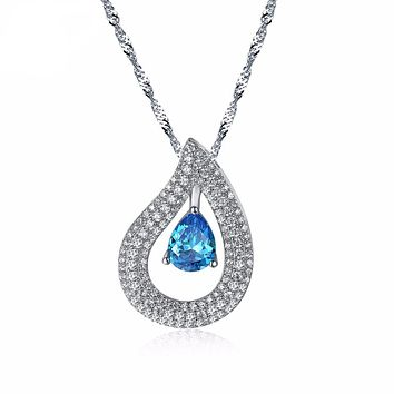 Women Pendants & Necklaces AAA Big Blue Cubic Zircon Female Necklace With Chain Fashion Jewelry