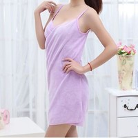 Wearable Microfiber Soft Solid Color Wearable Bath Towel Bath Skirt Bathrobes