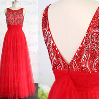 Red Formal Gown, A Line Straps Red Luxury Prom Dresses, Red Tulle with Crystal Prom Gown, Luxury Long Red Formal Dresses