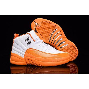 Air Jordan 12 Gs Orange White Aj 12 Women Basketball Shoes | Best Deal Online