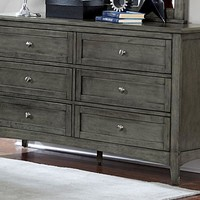 Transitional Style Wooden Dresser With 6 Drawers, Weathered Gray