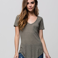 Full Tilt Womens Ribbed Pocket Tee Olive  In Sizes