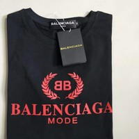 """Balenciaga"" Casual Fashion Letter Logo Print Round Neck Short Sleeve Sweatshirt Tops"