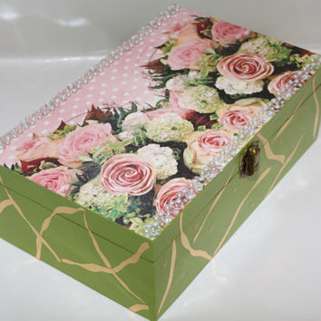 Wooden box - jewelry box - treasure box - keepsake box - decoupage box - wedding box - memory box - decorated box - painted box -  pink rose