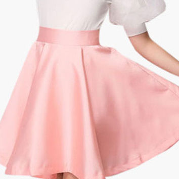 Casual High-Waisted Satin Skirt