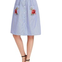 Button Front Striped Skirt With Embroidered Rose Applique Pocket Summer Skirts Women Knee Length A Line Skirt