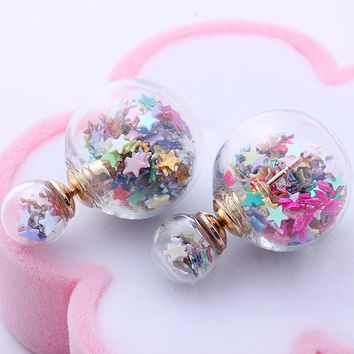 Fashion Women Glass Beads Flower Stars  Elegant Double Stud Earrings Jewelry For Gift