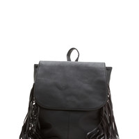 Fringe Accented PU Backpack