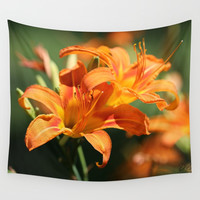 Day Lily Dance Wall Tapestry by Theresa Campbell D'August Art