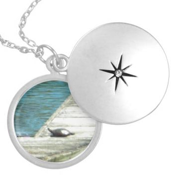 Snapper Turtle Resting on Dock Calm Blue Waters Round Locket Necklace