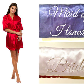 Bridesmaids robes with initials, Monogrammed wedding robes, Personalized bridesmaid gifts, Cheap robes, Satin robes, Silver embroidery, Gold