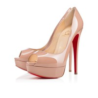 Cl Christian Louboutin Lady Peep Nude Patent Leather 150mm Stiletto Heel Classic - Best Online Sale