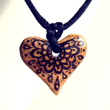 Wood Heart Necklace, Wooden Pendant Hand Carved. Heart Pendant, Heart Jewelry, Pyrography, Wood Burning, Handmade, Heart Necklace, Rustic