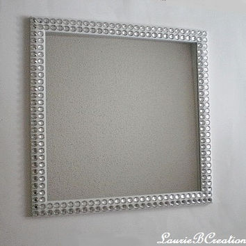 "BLING WALL MIRROR -  White or Black Trim w/ Sparkling Clear Rhinestones - 16"" Square"