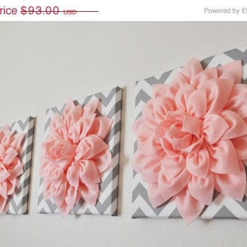 "MOTHERS DAY SALE Wall Art -Set Of Three Light  Pink Dahlia on Gray and White Chevron 12 x12"" Canvas Wall Art- 3D Felt Flower"