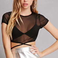 Sheer Mesh Self-Tie Crop Top
