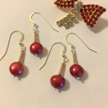 Red Pearl Earrings Christmas Holiday Jewelry Handmade Gold and Red Dainty Drop Earrings Stocking Stuffer Gift Red Pearl Jewellery