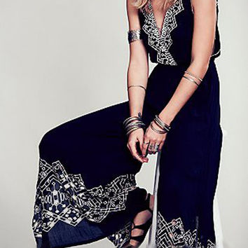 Deep V Embroidery Strappy Back Wide Leg Jumpsuit