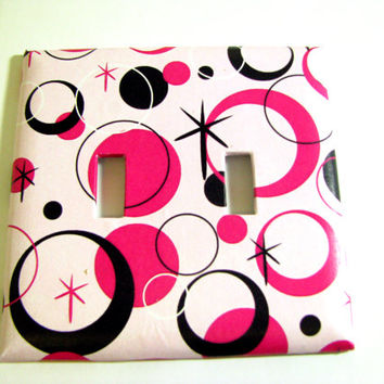Double Light Switch Cover - Light Switch Plate Pink Circles Stars