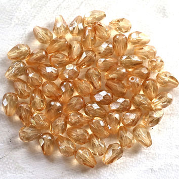 Lot of 25 7 x 5mm Crystal Champagne teardrop Czech glass beads, faceted firepolished teardrops C7701