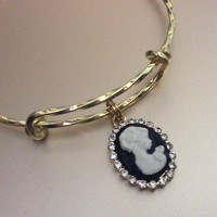 Gold and Crystal Cameo Charm on a Twisted Gold Expandable Wire Bangle Bracelet Meaningful Gift Adjustable Stacking Trendy