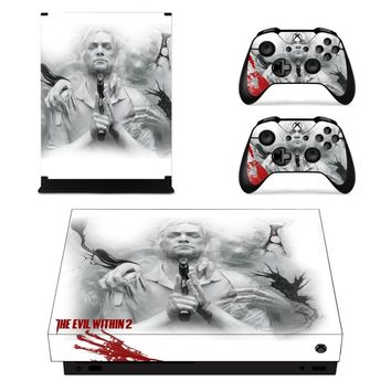 X0002 Game accessories Skin Sticker for Microsoft Xbox One X Console and 2 Controllers skins Stickers for XBOXONE X Enhanced