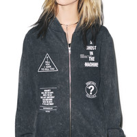 Disturbia Ghost Bomber Jacket Black Acid