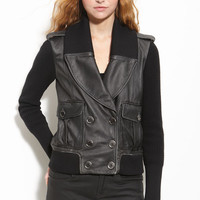 Burberry Brit Knit Sleeve Leather Jacket