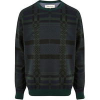 River Island MensDark green check oversized sweatshirt