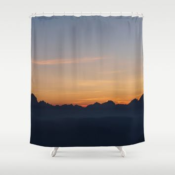 Mountain Range Silhouette Shower Curtain by Mixed Imagery