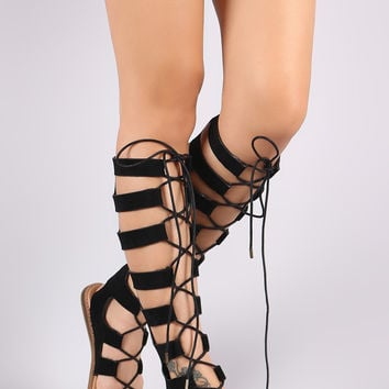 Bamboo Knee High Lace Up Gladiator Flat Sandal