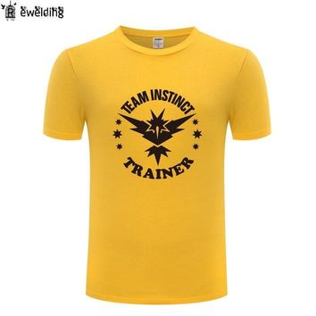 Team Instinct Trainer  GO Printed Men T Shirt Game T Shirts Men Cotton Short Sleeve Tshirt Streetwear Tee Shirt Homme NewKawaii Pokemon go  AT_89_9
