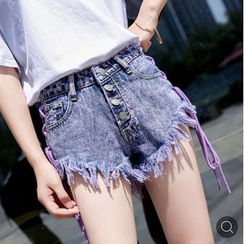 Summer personality lace-up jeans slim sexy ripped fur-trimmed shorts