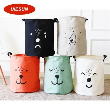 Waterproof Canvas Beam Laundry Basket Cute Bear Dog Pattern Cotton Linen Washing Clothes Storage Basket Storage Toy Bag UIE673