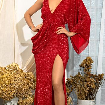 Kiss Me Now Red Sequin Asymmetric One Long Kimono Sleeve Drape Backless Cross Wrap V Neck Split Maxi Dress