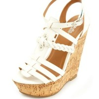 Braided Platform Gladiator Wedge Sandals by Charlotte Russe - White