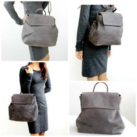 Convertible backpack black leather