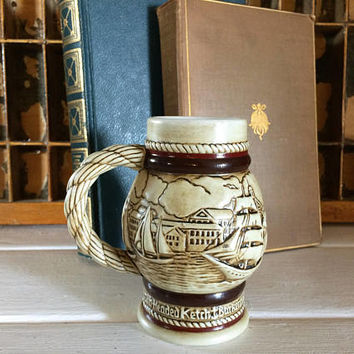 Vintage Avon Mug, Avon Vintage, Avon Ship, Avon Stein, Avon Miniature Stein, Beer Stein, Old Ship Mug, Avon Collectible, 80s Avon, Sailboat