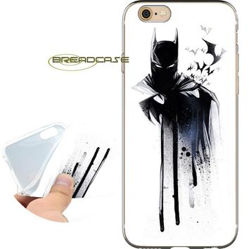 Batman Dark Knight gift Christmas Coque Watercolor Batman Soft Clear TPU Silicone Phone Cases for iPhone X 8 7 6S 6 Plus 5S SE 5 5C 4S 4 Case iPod Touch 6 5 Cover AT_71_6