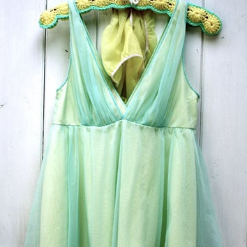 Vintage 1960's Babydoll Nightie Lingerie Aqua by ObjectsbyEchoes