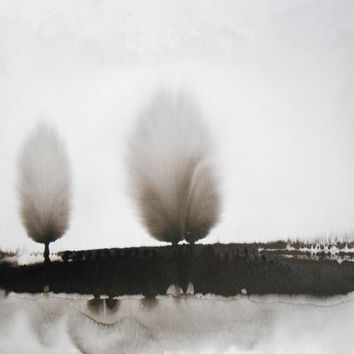Ethereal Philosophy Black and White Ink Wash Painting by Manjuzaka