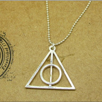 necklace pendant jewelry Vintage Harry Porter Deathly Hallows pure silver bronze unique spiritual film personality unique a27