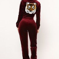 Eye Of The Tiger Velour Set - Burgundy